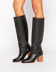 Mango Leather Knee High Boots Black