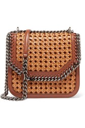 Stella Mccartney The Falabella Box Medium Woven Faux Leather Shoulder Bag Tan