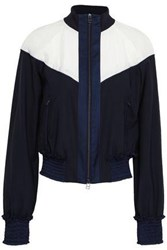 3.1 Phillip Lim Woman Paneled Shell And Wool Blend Jacket Midnight Blue