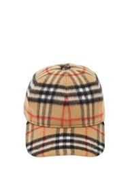 Burberry Vintage Check Wool Baseball Hat Antique Yellow