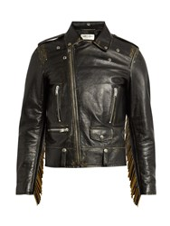 Saint Laurent Tasselled Leather Biker Jacket Black