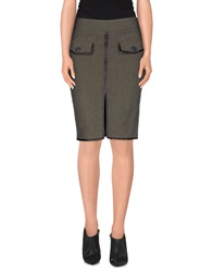 Dekker Knee Length Skirts Military Green