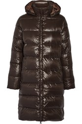 Duvetica Deneb Hooded Padded Shell Down Coat Dark Brown