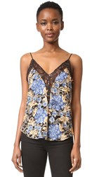 Rodarte Embroidered Floral Lace Camisole Blue Gold