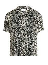 Saint Laurent Leopard Print Short Sleeved Twill Shirt Black Multi