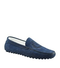 Billionaire Croc Embossed Stamped Driver Shoe Male Dark Blue