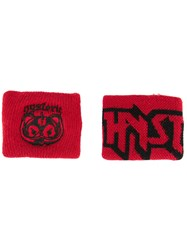 Hysteric Glamour Logo Patch Sweat Bands Red