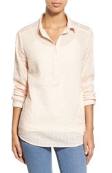 Women's Caslon Long Sleeve Textured Cotton Pullover Coral Pale