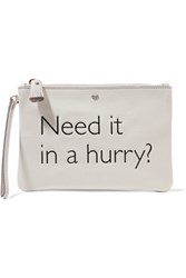Anya Hindmarch Need It In A Hurry Printed Textured Leather Clutch Off White