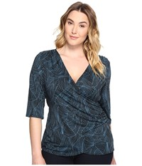 Kiyonna Camila Cinch Top Teal Geo Print Women's Clothing Blue
