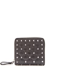 Valentino Rockstud Spike Quilted Leather Wallet Black