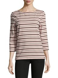 Imnyc Isaac Mizrahi Three Quarter Sleeve Boatneck Tee Pink Stripe