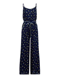Yumi Pineapple Jumpsuit Navy