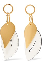Marni Gold Plated Leather Earrings Gold White