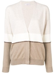 Brunello Cucinelli Colour Block Fitted Cardigan Neutrals