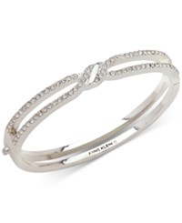 Anne Klein Pave Twist Open Hinged Bangle Bracelet Silver