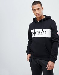 Hype Hoodie With Contrast Logo Panel Black