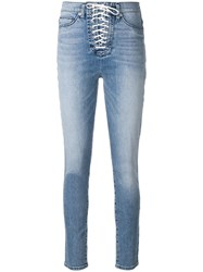 Hudson Lace Up Jeans Blue