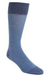 Cole Haan Men's Pique Texture Crew Socks Washed Indigo