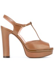 L'autre Chose Iconic T Bar Platform Sandals Women Calf Leather Leather 39 Brown