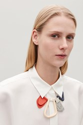 Cos Abstract Shape Leather Necklace Red