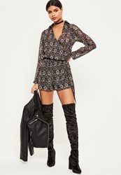 Missguided Grey Snake Print Wrap Front Shirt Playsuit Black