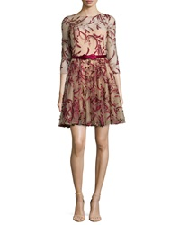 Marchesa Notte 3 4 Sleeve Tulle Fit And Flare Dress Red