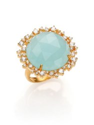 Mija Light Blue Jade And White Sapphire Cluster Cocktail Ring Gold Mint