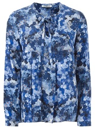 Cacharel Pleated Blouse In Silk Print Blue