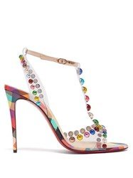 Christian Louboutin Faridaravie 100 Studded Checked Leather Sandals Multi