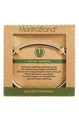 Mantraband Women's Just Keep Swimming Engraved Cuff Silver