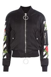 Off White Embroidered Bomber Jacket Black