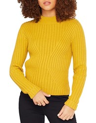 Miss Selfridge Ribbed Mock Turtleneck Sweater Yellow