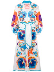 Yuliya Magdych Pansies Embroidered Dress White