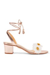Charlotte Olympia Tara Appliqued Metallic Leather Sandals Pink