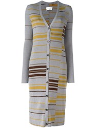 Maison Martin Margiela Striped Long Cardigan Grey