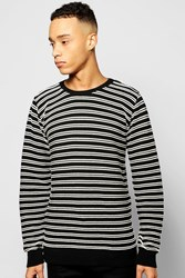 Boohoo Mono Stripe Jumper With Insert Shoulder Zips Black