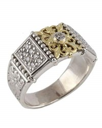 Konstantino Asteri Floral Pave White Diamond Band Ring Multi