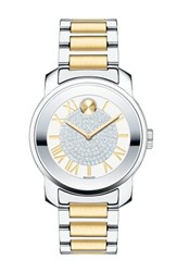 Movado Women's 'Bold' Crystal Dial Bracelet Watch 32Mm Silver Gold