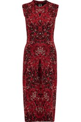 M Missoni Cotton Blend Jacquard Knit Dress Claret