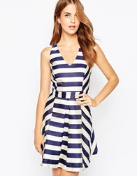 Adelyn Rae Striped Skater Dress With Cross Back Ivorynavy