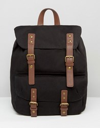Asos Smart Canvas Backpack In Black With Contrast Straps Black