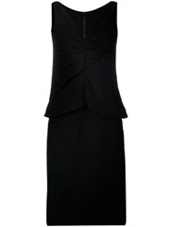 Christian Dior Vintage Layered Textured Dres Black