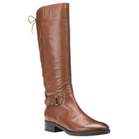 Geox Felicity A Block Heeled Knee High Boots Brown Leather
