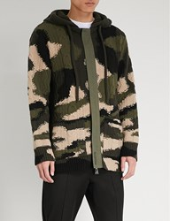 Valentino Camouflage Knitted Cardigan Green