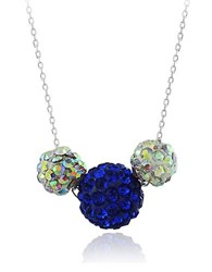 Lord And Taylor Crystal Cluster Pendant Necklace Blue Multi