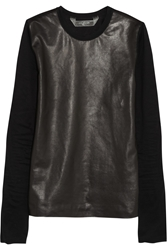 Reed Krakoff Leather Paneled Cotton Top Black