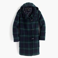 J.Crew Hooded Toggle Coat In Plaid Forest Multi