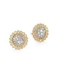Pleve Ice Diamond And 18K Yellow Gold Flower Stud Earrings
