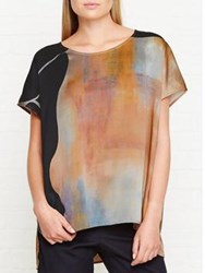 Jigsaw Silhouette Print Silk Top Multicolour